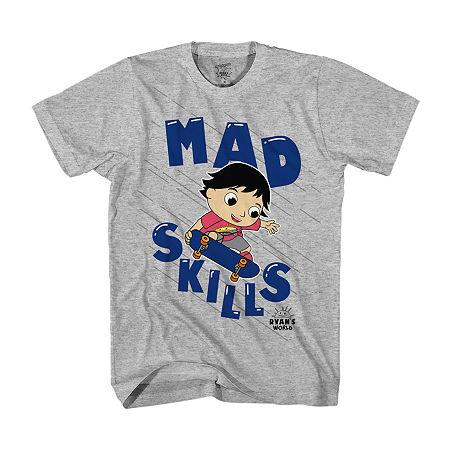 Ryans World Little & Big Boys Crew Neck Short Sleeve Graphic T-Shirt, X-small (6-7) , Gray