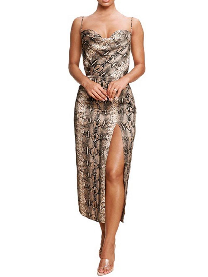 Ericdress Mid-Calf Sleeveless Split Spaghetti Strap Pullover Dress