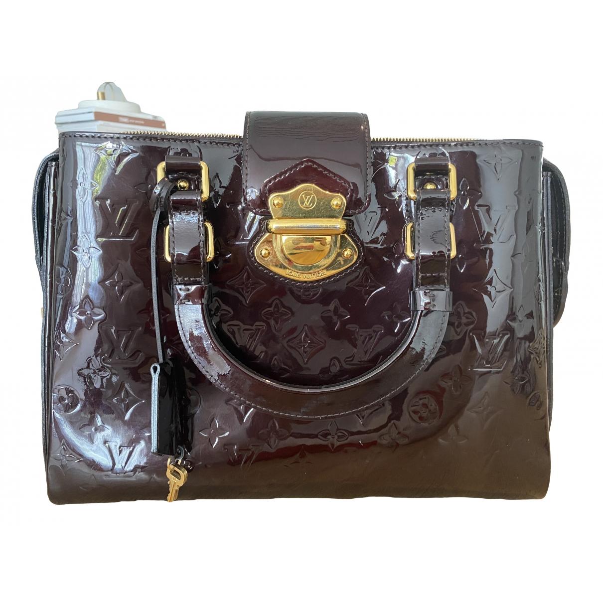 Louis Vuitton - Sac a main Melrose pour femme en cuir verni - bordeaux