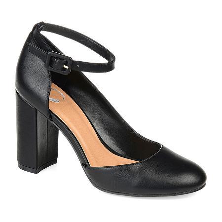 Journee Collection Womens Raveen Buckle Round Toe Block Heel Pumps, 10 Medium, Black