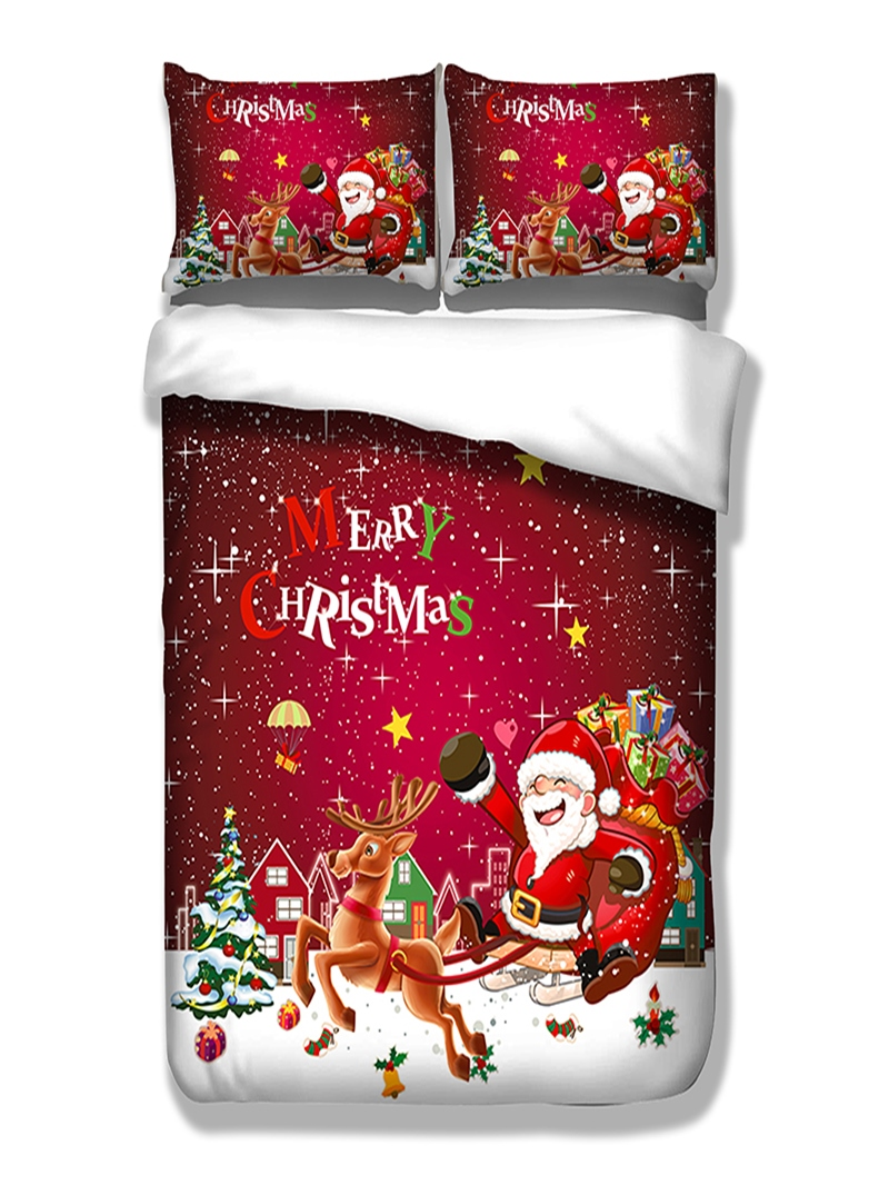 Vivilinen 3D Santa and Reindeer Printed Polyester 3-Piece Bedding Sets/Duvet Covers