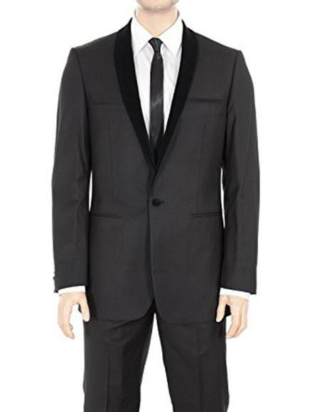 Men's 1 Button Tuxedo Velvet Shawl Lapel Regular Fit Black Suits