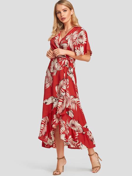 Yoins Red Leaf Print Bell Sleeves Irregular Hem Maxi Dress With Wrap Design