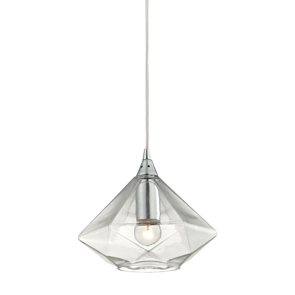 Brooklyn Warren - One Light Mini Pendant  Polished Chrome Finish with Light Amber Faceted Glass (Polished Chrome)