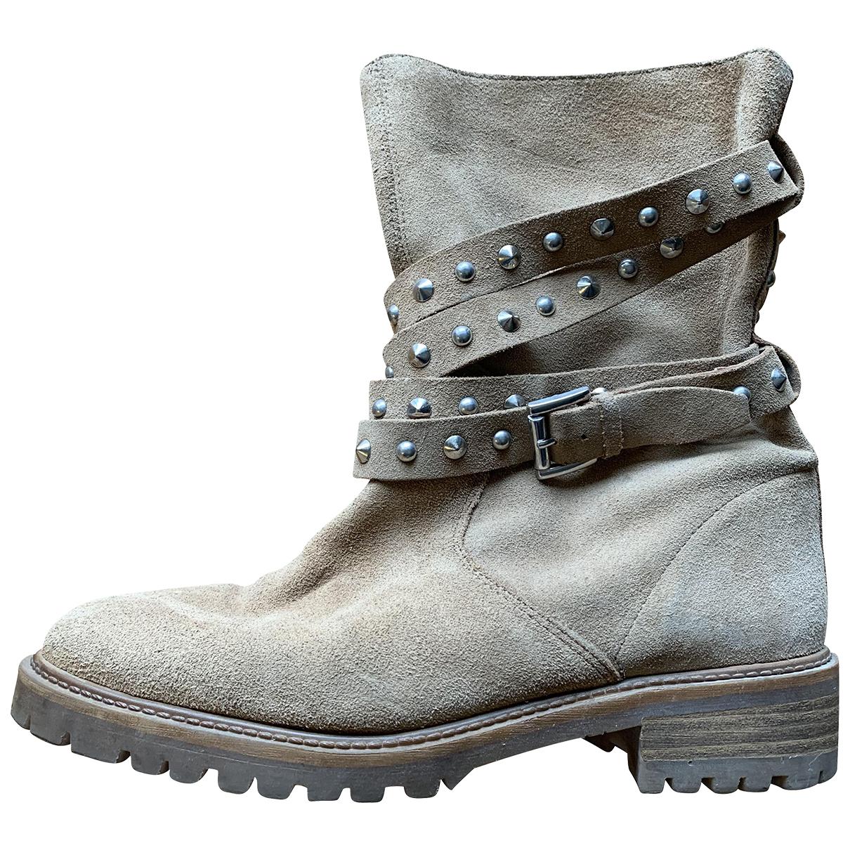 Zara \N Stiefel in  Beige Veloursleder