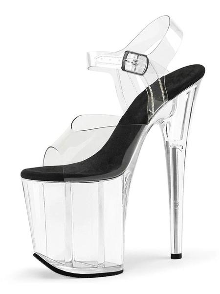 Milanoo Women Sexy Sandals Black Peep Toe Platform Sexy Shoes