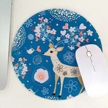 Deer Print Round Mouse Pad