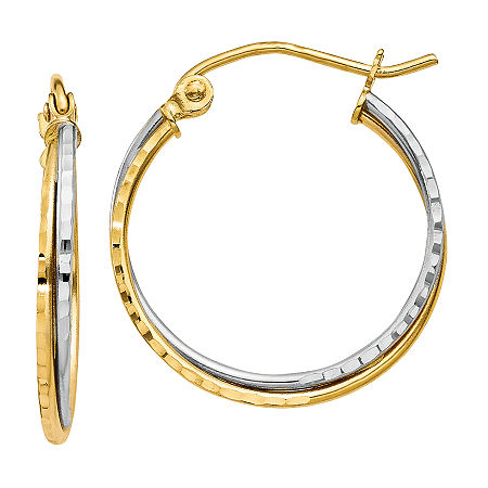 14K Two Tone Gold 20mm Round Hoop Earrings, One Size , No Color Family
