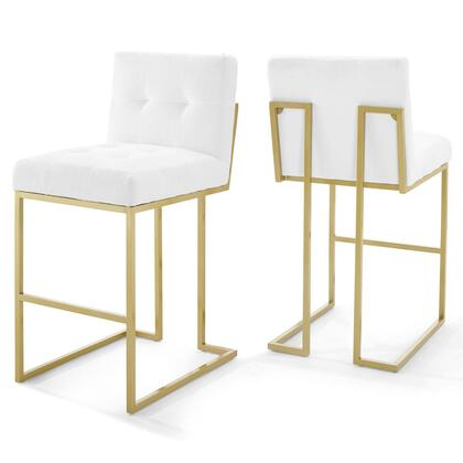 Privy Collection EEI-4157-GLD-WHI Gold Stainless Steel Performance Velvet Bar Stool Set of 2 in Gold White