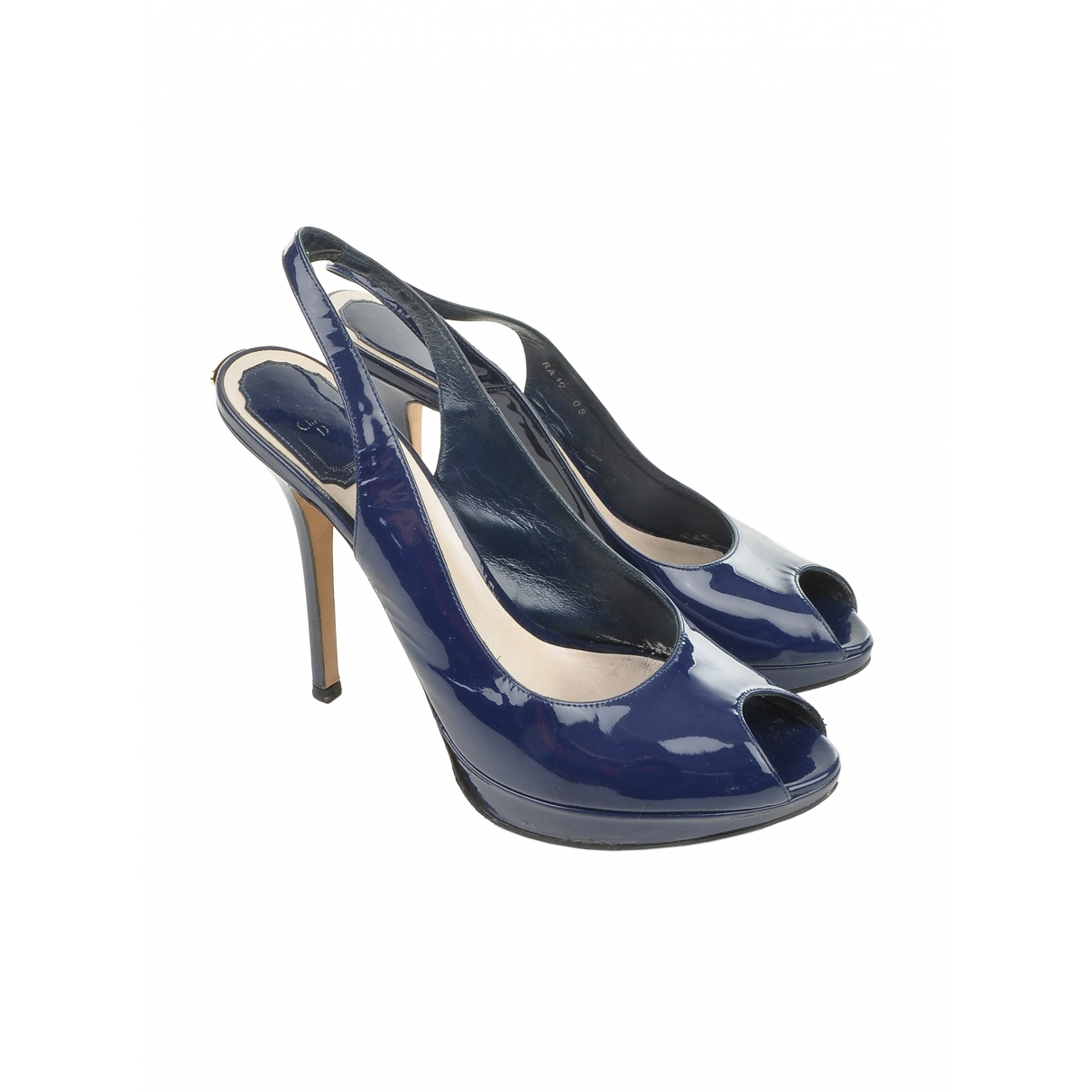 Dior \N Blue Patent leather Heels for Women 38 EU