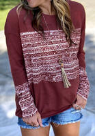 Geometric Long Sleeve O-Neck T-Shirt Tee - Burgundy