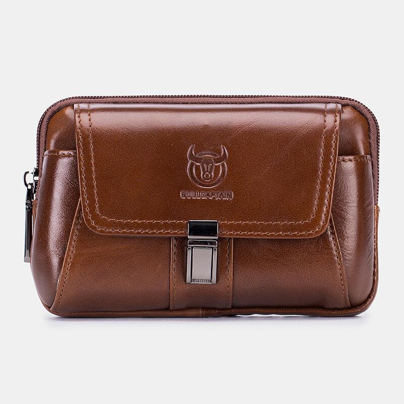 Men EDC Vintage Genuine Leather 6.5 Inch Phone Waist Bag Belt Bag