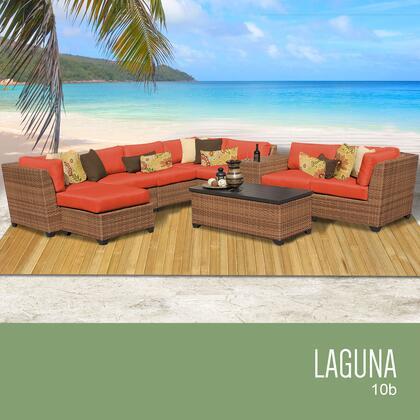 LAGUNA-10b-TANGERINE Laguna 10 Piece Outdoor Wicker Patio Furniture Set 10b with 2 Covers: Wheat and