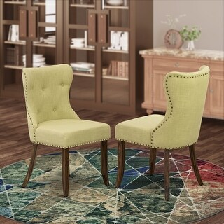 East West Furniture Parsons Chair Upholstered Chair Includes  Wooden Structure with Linen Fabric Seat with Nail Head - 21.5 (Walnut)