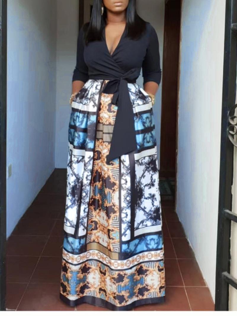 Ericdress African Fashion V-Neck Print High-Waist Color Block Dress