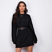 Drop Shoulder Rib-knit Tee Dress Without Belt
