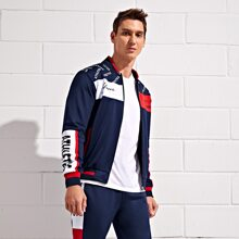 Men Letter Graphic Bomber Sports Jacket