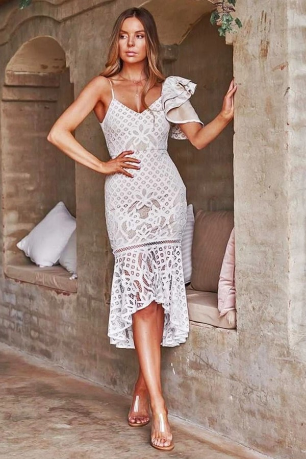 Sexy Sleevelss White Lace High Low Homecoming Dress Online