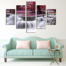 5 piezas pintura de pared con estampado cascada sin marco