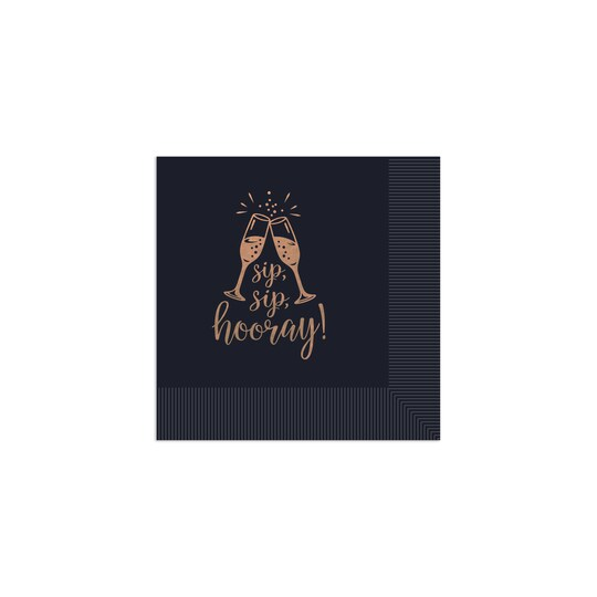 100 Pack of Gartner Studios® Personalized Sip Sip Hooray Foil Coined Wedding Napkin in Black | 4.75