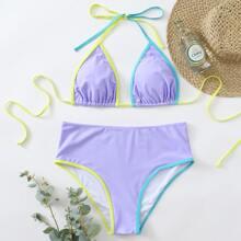 Micro dreieckiger Bikini Badeanzug mit Kontrast Bindung und Neckholder