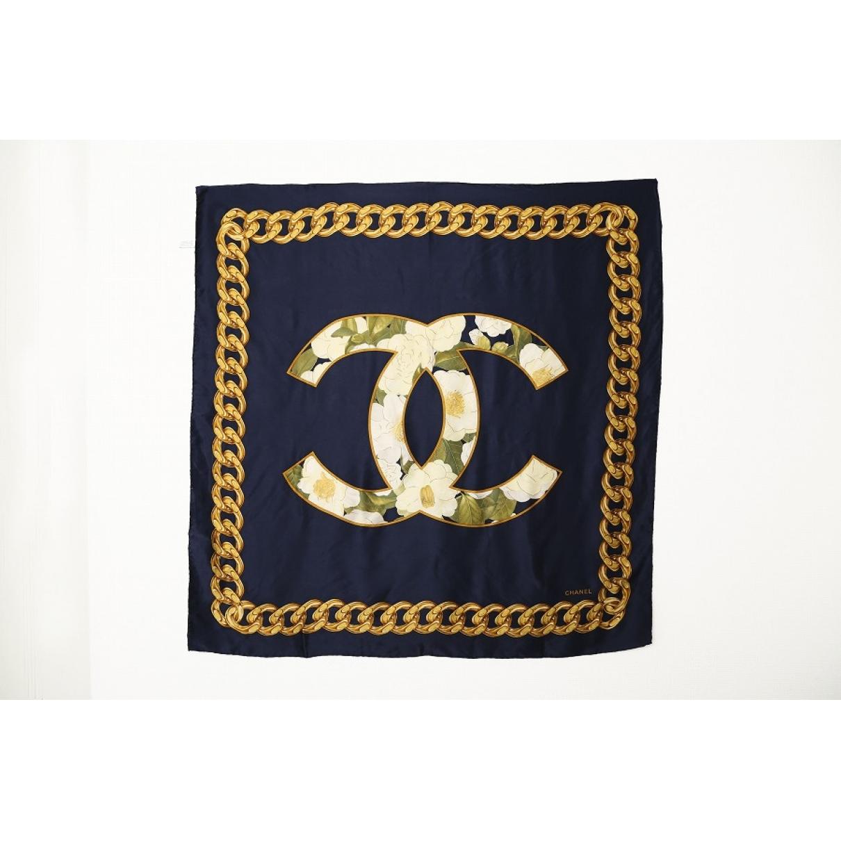 Chanel - Carre   pour femme en soie - marine
