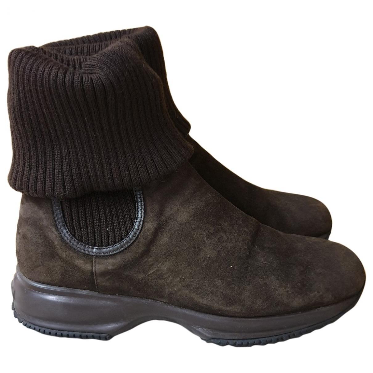 Hogan - Boots   pour femme en suede - marron