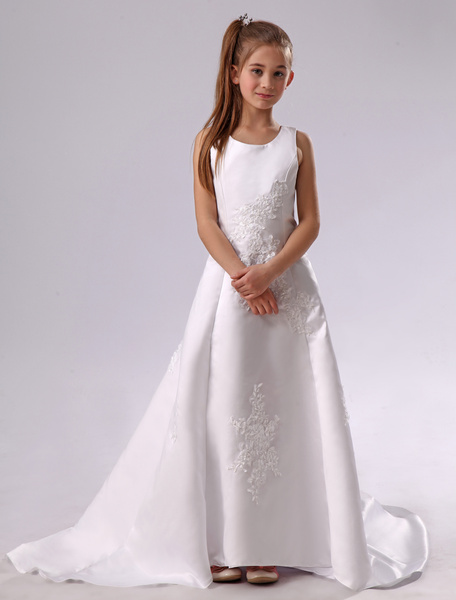 Milanoo White Flower Girl Dress Backless Applique Satin Dress
