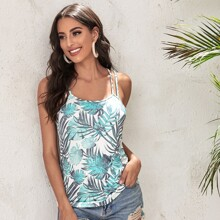 Top de tirantes con estampado tropical con doble tira