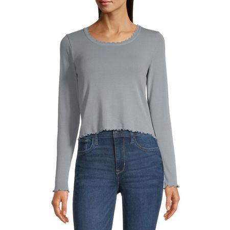 Arizona Juniors-Womens Round Neck Long Sleeve T-Shirt, X-large , Blue