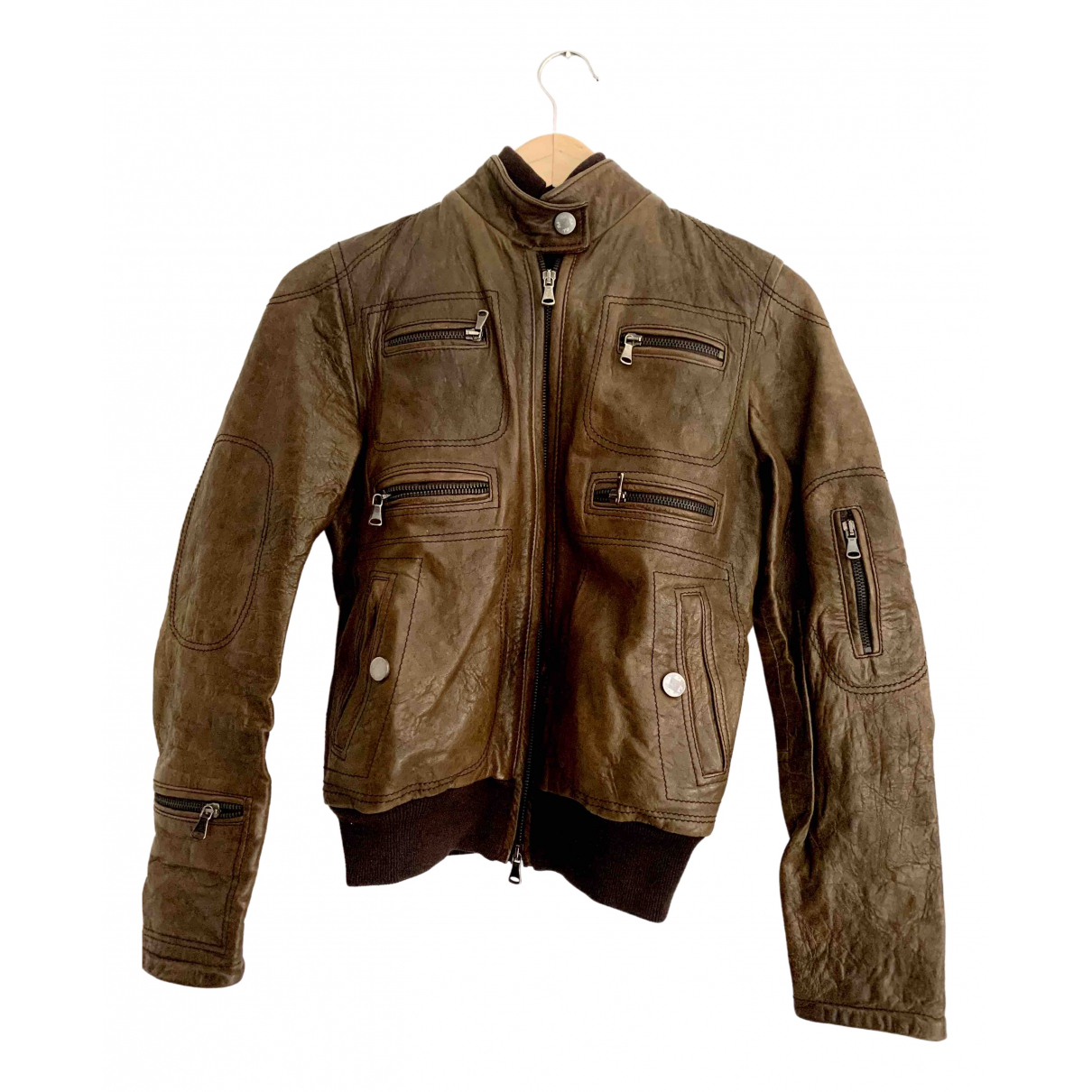 Daniele Alessandrini \N Brown Leather Leather jacket for Women 38 FR