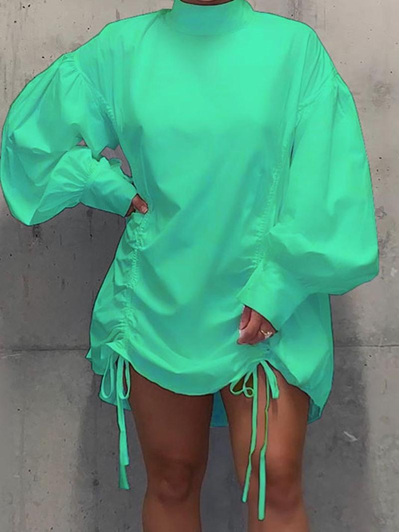 Ericdress Stand Collar Lace-Up Long Sleeve Lantern Sleeve Fall Dress