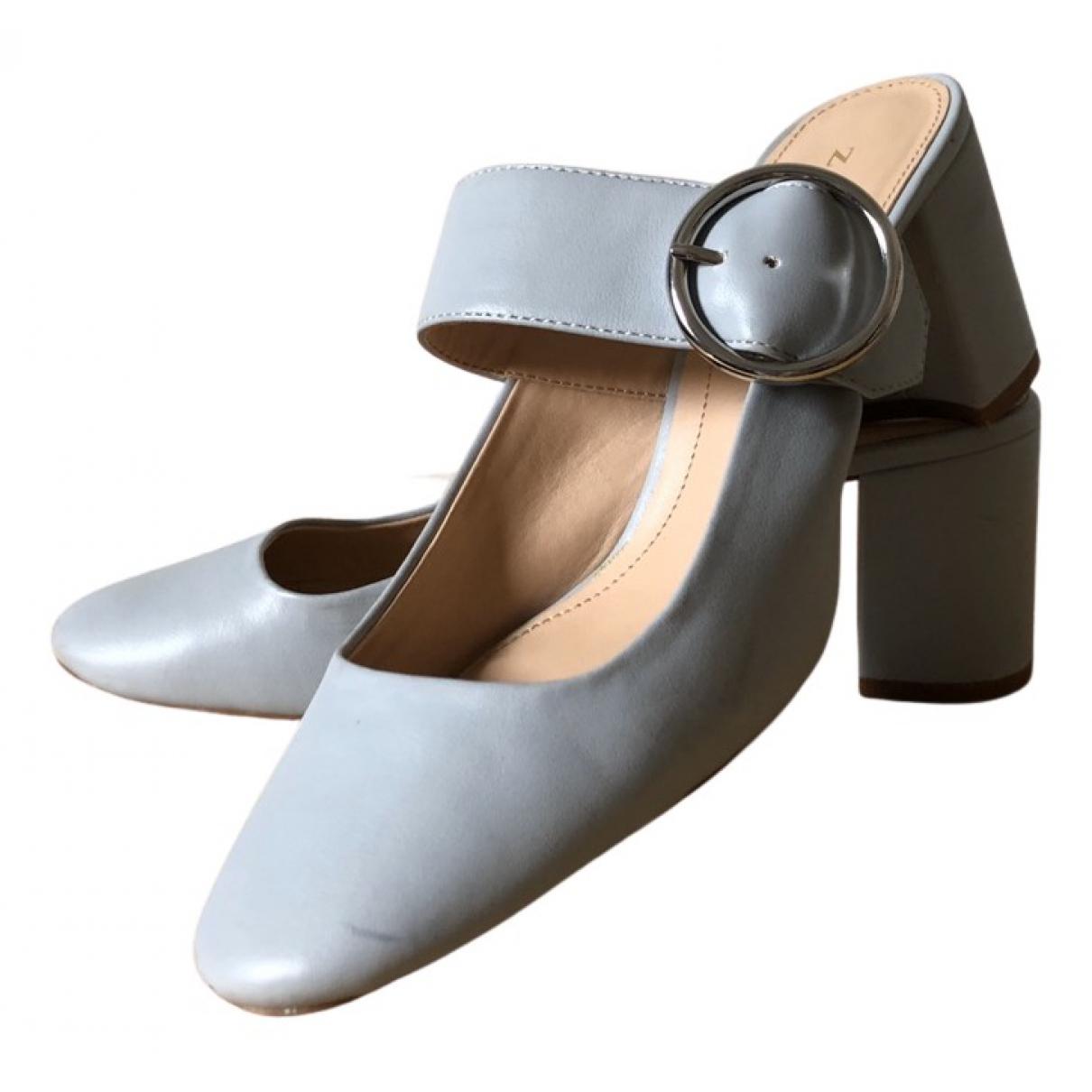 Zara - Escarpins   pour femme en cuir - bleu