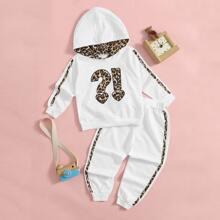 Outfits dos piezas para niña pequeña Bordado Leopardo Deportivo