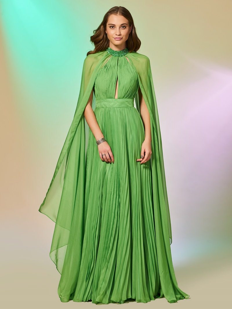 Ericdress Beading High Neck Pleats Prom Dress with Sleeves
