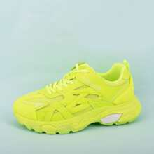 Neon Lime Lace-up Front Mesh Panel Sneakers
