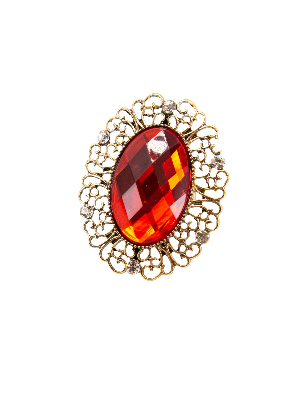 Kostuemzubehor Ring gold mit grossem roten Stein