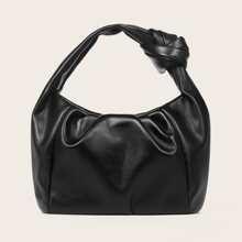 Knot Decor Ruched Satchel Bag