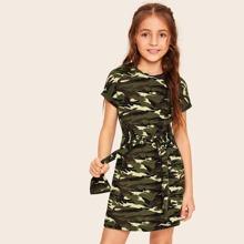 Girls Tie Waist Camouflage Tee Dress