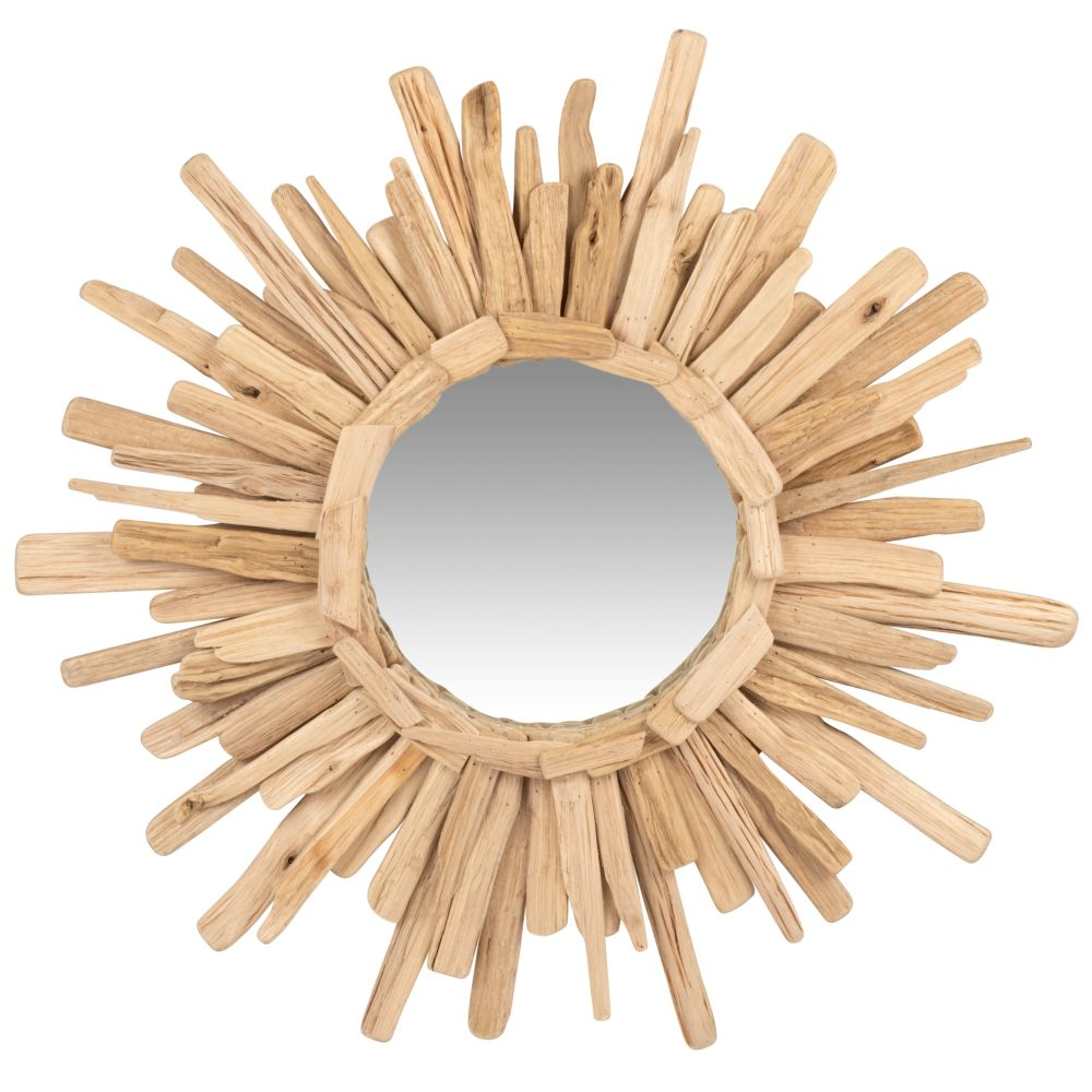 Runder Spiegel mit Treibholzrahmen D74