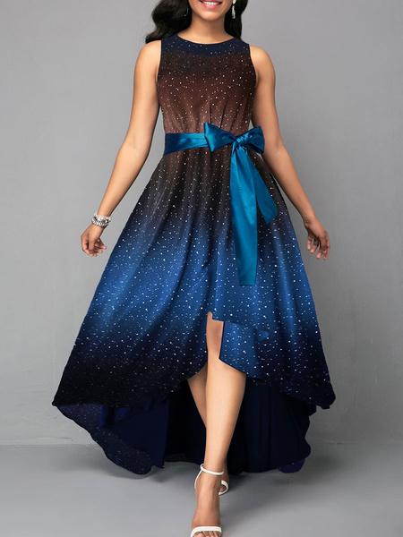 Milanoo Vestido largo azul  Moda Mujer con dibujo de estrellas sin mangas Vestidos de poliester High-Low con lazo con escote redondo Verano