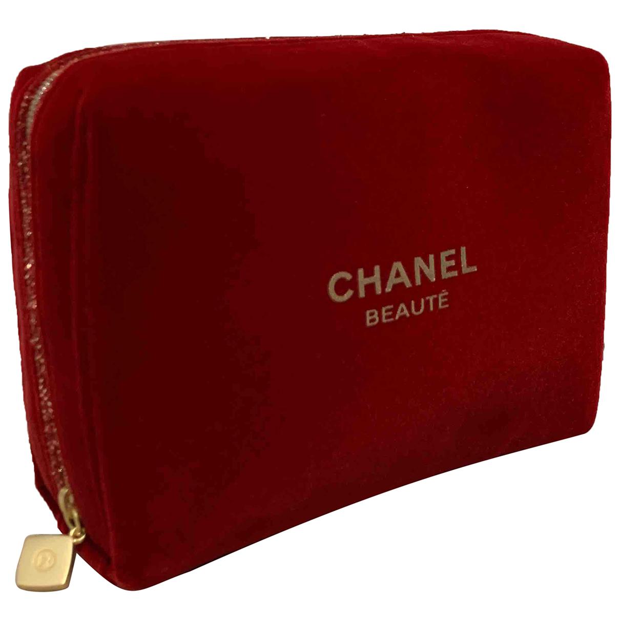 Chanel - Sac de voyage   pour femme en velours - rouge