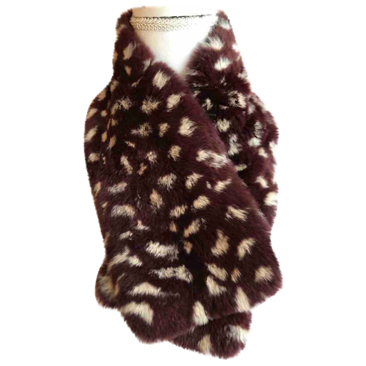 Non Signé / Unsigned N Burgundy Rabbit scarf for Women N