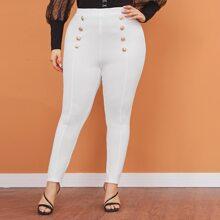 Pantalones ajustados con botones delanteros