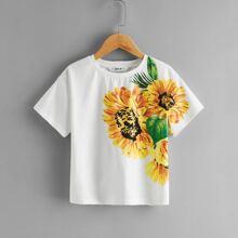 Girls Drop Shoulder Sunflower Print Tee