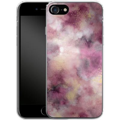 Apple iPhone 7 Silikon Handyhuelle - Smoky Marble Watercolor Pink von Ninola Design