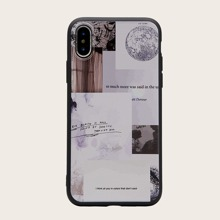 1 pieza funda de iphone con estampado de slogan