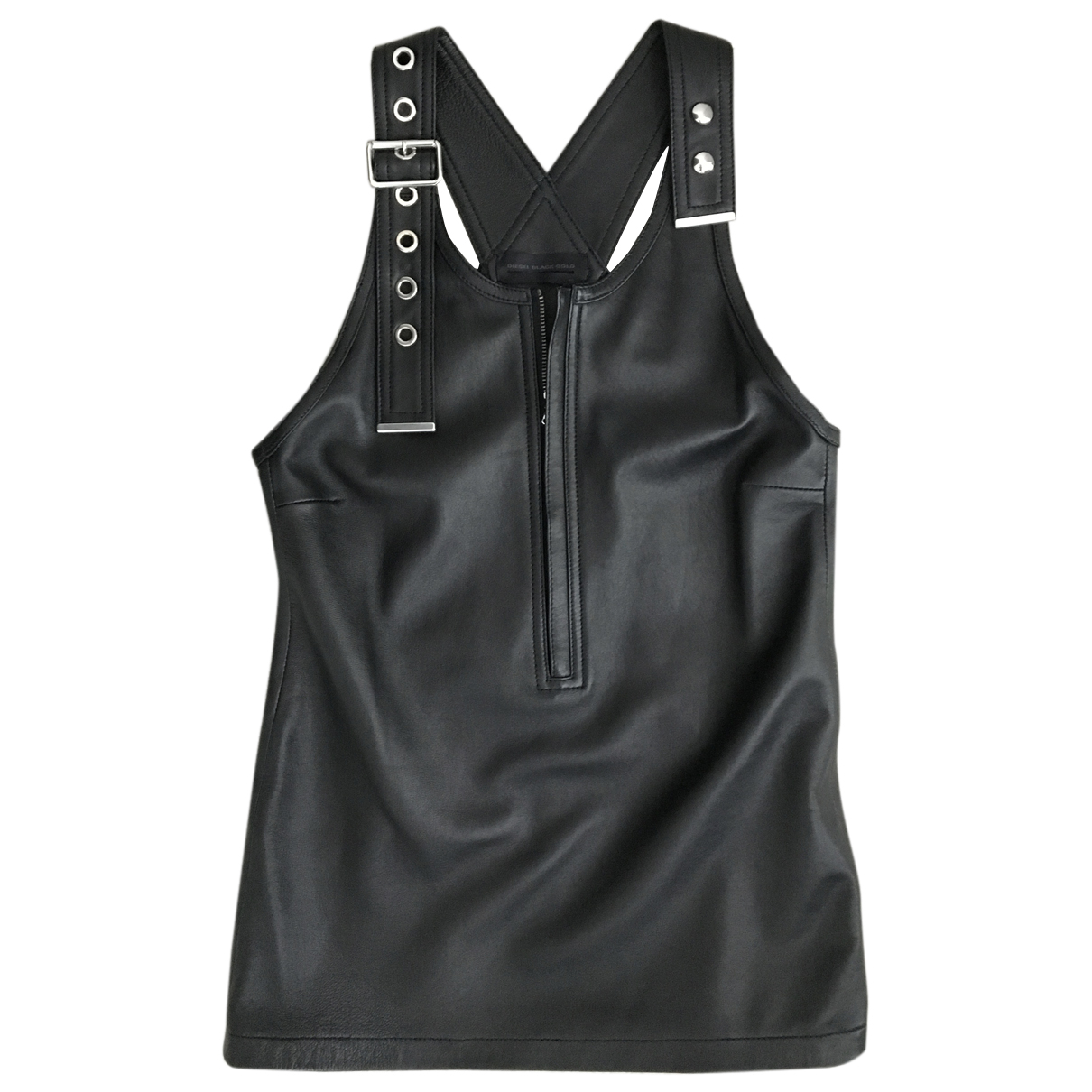 Diesel Black Gold N Black Leather  top for Women 40 IT