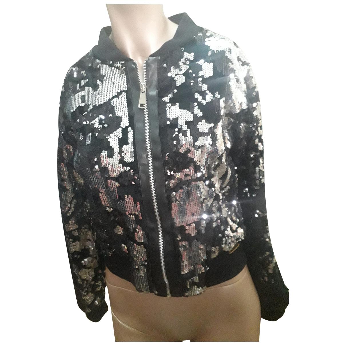 Pierre Cardin \N Black Glitter Leather jacket for Women 42 IT