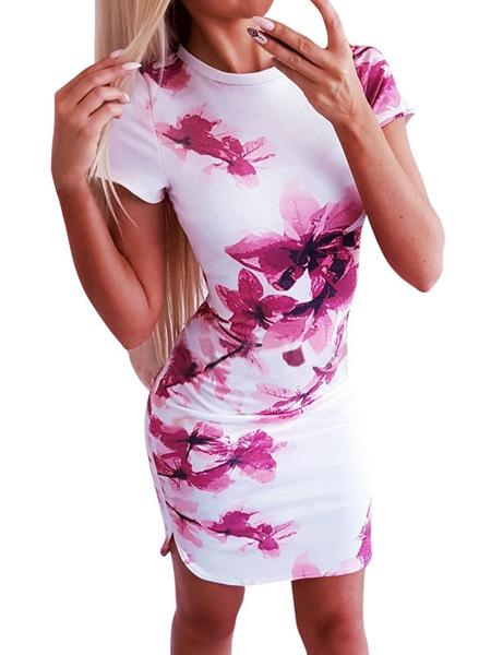 Milanoo Vestidos ajustados con flores Joya cuello Casual manga corta vestido lapiz